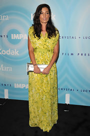 Reed Morano looked lovely in a lemon yellow floral print maxi dress for the Lucy Awards.
