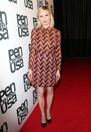 Kirsten Dunst wore a long-sleeved printed dress to PEN Center USA's 25th Annual Literary Awards Festival