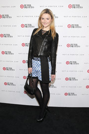 Amber Atherton teamed her leather jacket with a fun pair of patterned Peter Pilotto shorts.