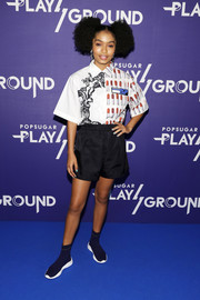 Yara Shahidi kept it comfy in a pair of black shorts.