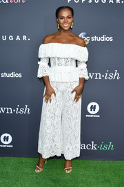 Tika Sumpter looked romantic in an off-the-shoulder lace jumpsuit by Zuhair Murad at the PopSugar x ABC 'Embrace Your Ish' event.