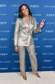 Tiffany Haddish shone in an embossed silver pantsuit by Georges Chakra at the 2018 Incredible Women Gala.