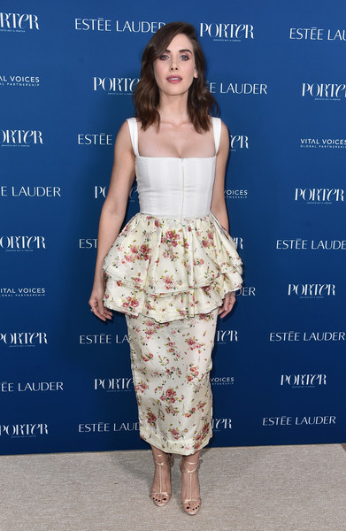 Alison Brie paired her top with a floral peplum skirt, also by Brock Collection.