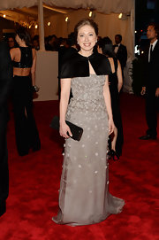 Chelsea Clinton chose this gray floral embellished gown for her look at the 2013 Met Gala.