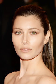 Jessica Biel kept her hair look on the minimal side with a simple ponytail.