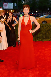 Maggie Gyllenhaal chose a custom-made scarlet gown for her look at the 2013 Met Gala.