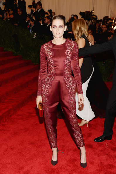Kristen Steward chose this silk jumpsuit that featured lace embroidery and puffed hips for her look a the Met Gala.