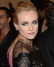 Diane Kruger chose a knotted ponytail with cool pink dipped ends for her look at the 2013 Met Gala.