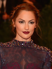 Minka's raspberry lip color added just a touch of rich color and a punk edge to her beauty look.