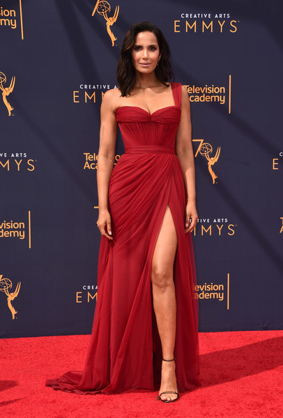Padma Lakshmi One Shoulder Dress [red carpet,clothing,carpet,dress,shoulder,fashion model,gown,red,flooring,hairstyle,arrivals,padma lakshmi,creative arts emmy awards,california,los angeles,microsoft theater,creative arts emmys]
