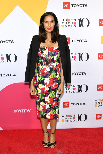 Padma Lakshmi Strappy Sandals [10th anniversary women in the world summit,padma lakshmi,clothing,red carpet,carpet,dress,premiere,fashion,fashion model,cocktail dress,hairstyle,footwear,david h. koch theater,new york city,lincoln center]