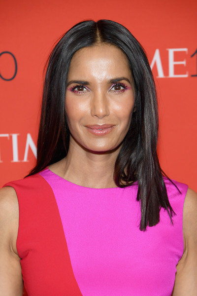 Padma Lakshmi Long Straight Cut [red carpet,hair,face,hairstyle,eyebrow,shoulder,chin,beauty,pink,cheek,lip,padma lakshmi,time 100,jazz,new york city,lincoln center]