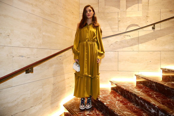 More Pics of Eleonora Carisi Maxi Dress (1 of 2) - Dresses & Skirts Lookbook - StyleBistro [yellow,clothing,fashion,outerwear,dress,long hair,visual arts,fashion design,costume,palazzo fendi,zuma,eleonora carisi,inauguration,rome,italy,zuma inauguration]