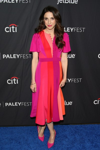 Marin Hinkle wore a gorgeous color-block midi dress by Prabal Gurung to the 2019 PaleyFest LA presentation of 'The Marvelous Mrs. Maisel.'