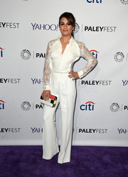 Lea Michele styled her white outfit with a fun and stylish color-block clutch by Elie Saab.