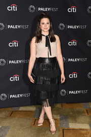Katie Lowes spiced up her look with a fringed leather pencil skirt by St. John.