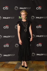 Sarah Paulson chose a flouncy black lace dress by Philosophy di Lorenzo Serafini for the PaleyFest LA closing night presentation.