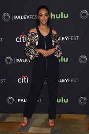 Sonequa Martin-Green was casual and cool in a black cold-shoulder jumpsuit with voluminous floral sleeves at the PaleyFest Los Angeles presentation of 'The Walking Dead.'