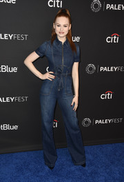 Madelaine Petsch kept it relaxed yet chic in an AO.LA by Alice + Olivia denim jumpsuit during PaleyFest Los Angeles.