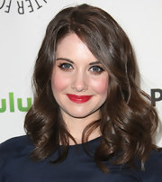 Alison Brie wore a shiny ruby red lipstick while attending PaleyFest 2012.