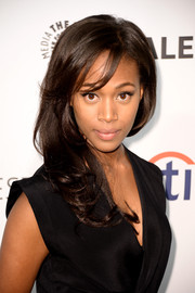 Nicole Beharie wore her hair in stylish feathered waves with side-swept bangs during PaleyFest.