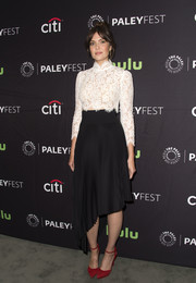 Mandy Moore looked demure in a fitted, high-neck lace blouse at the PaleyFest 2016 Fall TV Preview.