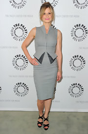 Kyra Sedgwick looked sophisticated at the Paley Center media event in a slim-fitting striped cocktail dress.