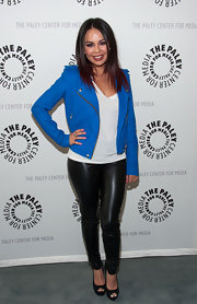 Janel Parrish wore an electric blue leather jacket over a classic white tee at the Pretty Little Liars' event at The Paley Center.