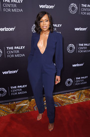 Regina King took a sexy plunge in this navy Fe Noel jumpsuit at the Paley Honors: Celebrating Women in Television event.