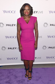 Viola Davis brightened up PaleyLive NY with this magenta sheath dress.