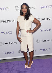 Aja Naomi King was all about vintage elegance at PaleyLive NY in a little white dress with a bodice overlay.