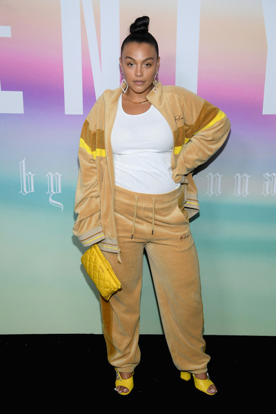 Paloma Elsesser Sports Pants [yellow,fashion,fashion design,flooring,carpet,performance,fashion show,style,summer 2018 collection at park avenue armory,paloma elsesser,arrivals,fenty puma,front row,new york city,rihanna spring]