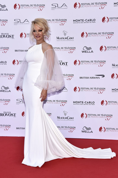 Pamela Anderson Fishtail Dress [red carpet,clothing,dress,gown,carpet,hairstyle,shoulder,flooring,fashion,long hair,monte-carlo,monaco,monte carlo tv festival,opening ceremony,monte carlo tv festival opening ceremony,pamela anderson]