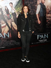 Bethenny Frankel was moto-chic in a multi-zip jacket while attending the New York premiere of 'Pan.'
