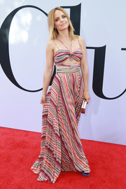 Mena Suvari was a boho babe in a striped cutout maxi dress by Amur at the premiere of 'Book Club.'
