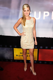 Amanda Michalka looked chic in a white lace dress and a retro 'do for the 'Super 8' release party.