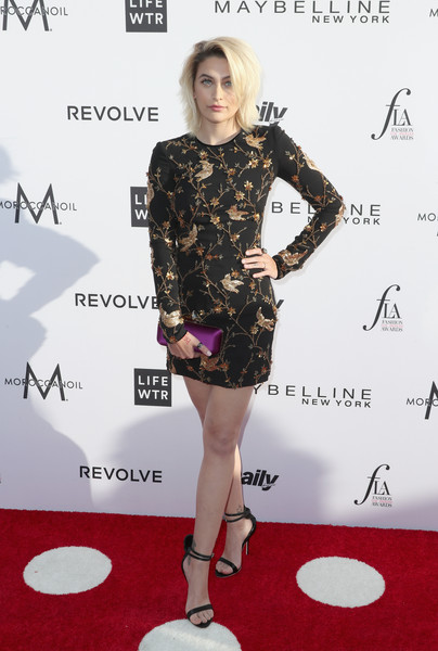 Paris Jackson Satin Clutch [clothing,dress,red carpet,fashion model,cocktail dress,carpet,fashion,footwear,shoulder,premiere,arrivals,paris jackson,honoree,west hollywood,california,sunset tower hotel,daily front row,3rd annual fashion los angeles awards]