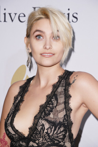 Paris Jackson Loose Bun [hair,blond,hairstyle,eyebrow,lip,beauty,long hair,chin,shoulder,hair coloring,debra lee - arrivals,debra lee,paris jackson,salute to industry icons,california,los angeles,the beverly hilton,pre-grammy gala]