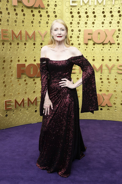 Patricia Clarkson Off-the-Shoulder Dress [carpet,clothing,dress,red carpet,flooring,lady,fashion,gown,shoulder,formal wear,arrivals,patricia clarkson,emmy awards,microsoft theater,los angeles,california]