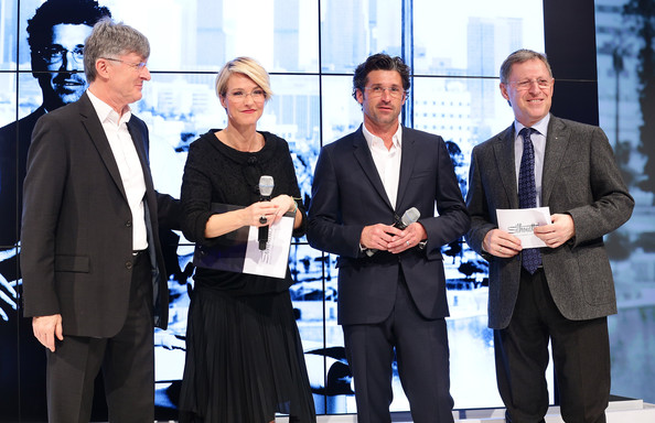 More Pics of Patrick Dempsey Men's Suit (1 of 18) - Patrick Dempsey Lookbook - StyleBistro [event,white-collar worker,collaboration,award,business,team,company,businessperson,management,employment,silhouette,patrick dempsey silhouette photocall,arnold schmied,patrick dempsey,klaus schmied,helen hiddink,l-r,milan,italy,press conference]