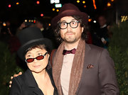 Yoko Ono wore a pair of mod sunglasses with red lenses at Paul McCartney's party in New York City.