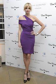 Tamsin Egerton paired her purple dress with ankle-strapped pumps at a fundraising event.