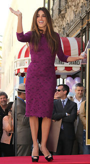 Penelope Cruz accepted her Hollywood Star on the Walk of Fame in black leather Lady Peep platforms.