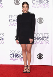 Ashley Benson opted for a Philipp Plein long-sleeve LBD with embellished shoulders for her People's Choice Awards look.