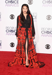 Arden Cho worked a sheer flower-embroidered shirtdress by Mario Dice at the People's Choice Awards.