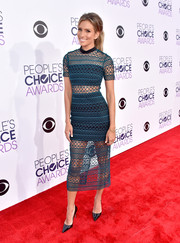 Renee Bargh looked super trendy at the People's Choice Awards in a see-through teal Self-Portrait dress with a black bandeau and mini skirt underlay.