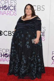 Chrissy Metz opted for a midnight-blue gown with a floral-embroidered skirt when she attended the 2017 People's Choice Awards.