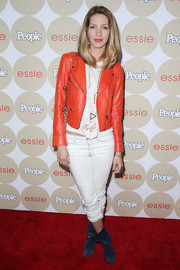 Dawn Olivieri opted for a casual, edgy look with this red leather jacket and white skinny jeans combo when she attended People's Ones to Watch party.