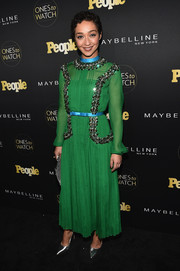 Ruth Negga was classic in a beaded green dress by Prada at the Ones to Watch event.