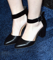 Taylor Spreitler attended the People StyleWatch Denim Awards wearing conservative yet stylish black ankle-strap pumps.